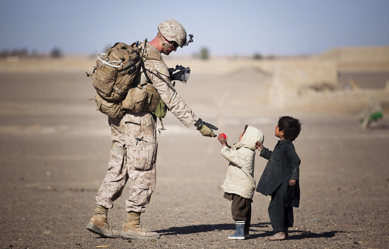 Soldier Giving